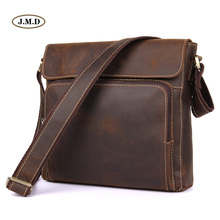 цена на J.M.D 100% Guarantee Genuine Leather Dark Brown Simple Style Crossbody Bag Men's Fashion Shoulder Bag Messenger Bag 7051R