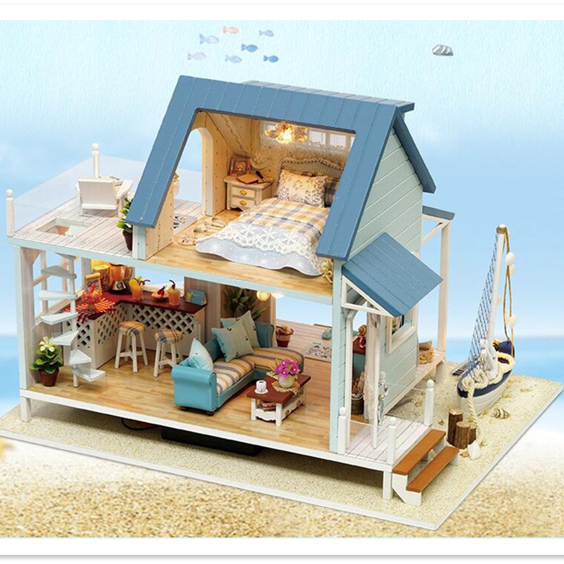 ФОТО Handmade Dolls House Furniture Miniatura Diy Doll Houses Miniature Dollhouse Wooden Toys for Children Birthday Gifts,Caribbean