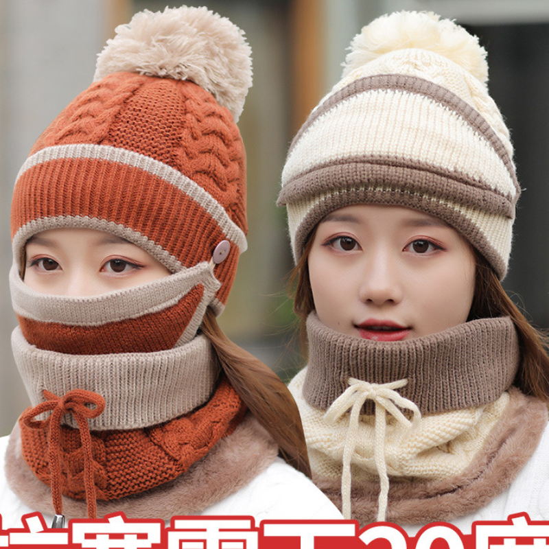 HT2139 Winter Hat And Scarf Women Thick Warm Knit Hat Scarf Winter Set 3pcs Beanies Ring Scarf Mask Winter Accessories For Women