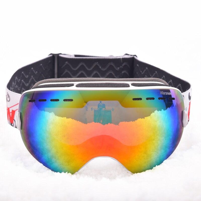 Marsnow Sphérique Ski Lunettes Lentilles Doubles Snowboard Lunettes Hiver UV400 Anti-brouillard Motoneige Coupe-Vent Lunettes Cadre Flexible