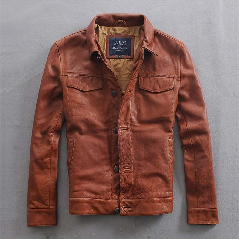Italy Vintage slim fit leather jacket men single breasted leather biker coat for men brown men's short casual motorcycle jacket