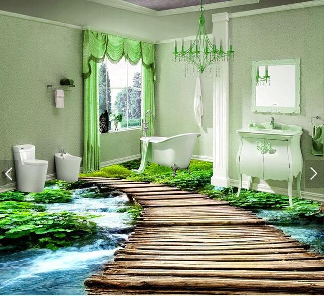 3d Pvc Flooring Custom Waterproof Wallpaper 3 D Bridge Watercourse Bathroom Picture Photo