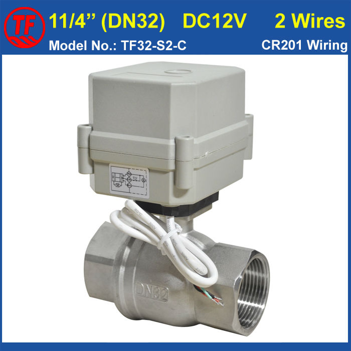 SS304 1-1/4'' DC12V 2 Wires Electric Ball Valve Metal Gear 10Nm Actuator On/Off 15 Sec For Water Application High Quality tf20 s2 c high quality electric shut off valve dc12v 2 wire 3 4 full bore stainless steel 304 electric water valve metal gear