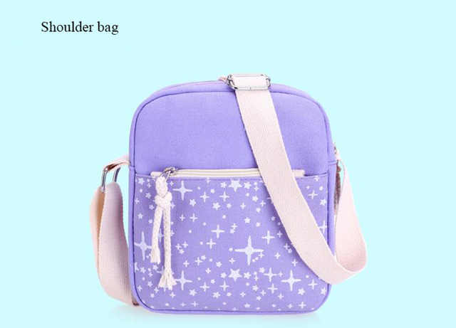Fashion Women Canvas Backpack School Bags Set For Girl Teenagers Casual Student Travel Rucksack Cute Stars Printing Bag 1