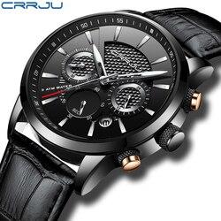 Crrju كرونوغراف ساعات للرجال ساعة رجالي ساعات العلامة التجارية الفاخرة ساعة كوارتز رجل جلد الرياضة ساعة معصم ساعة relogio