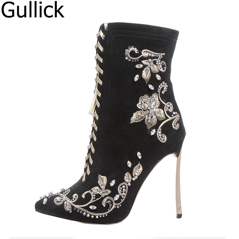 цена на Sexy Pointed Toe Cut-out Gladiator Boots Faux Suede Embroidered Crystal Mid-Calf Boots High Stiletto Heels Lace-up Boots