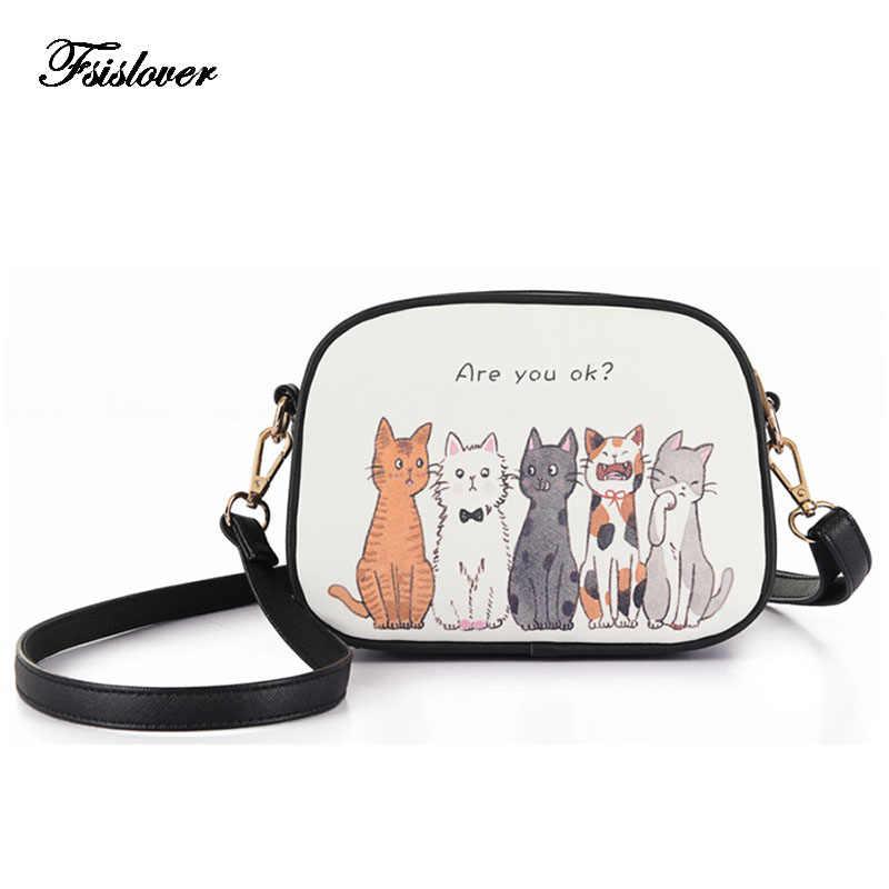 2019 Cartoon Cats Printed Beach Zipper Bag Bolsa Feminina PU Leather Tote Shoulder bag Handbags sac a main femme de marque