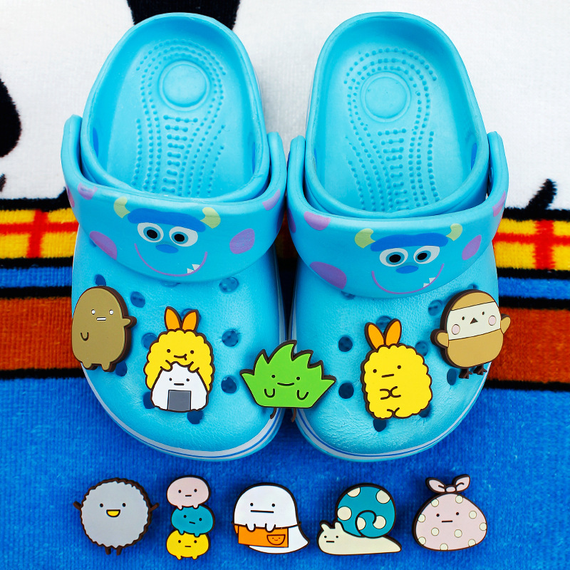 Novelty 10 Pcs/Lot PVC Cartoon Shoe Decorations Sumikkogurashi Charms Accessories Shoe Buckles Fit Bands Bracelets Croc JIBZ D14