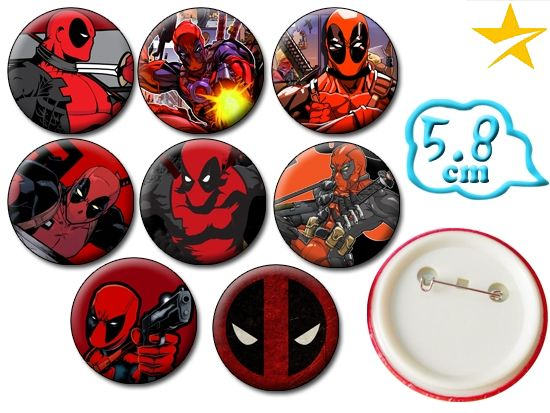 Marvel Comics Deadpool Pin Set PVC Badges Brooch Pin Chest Button Cosplay Collection