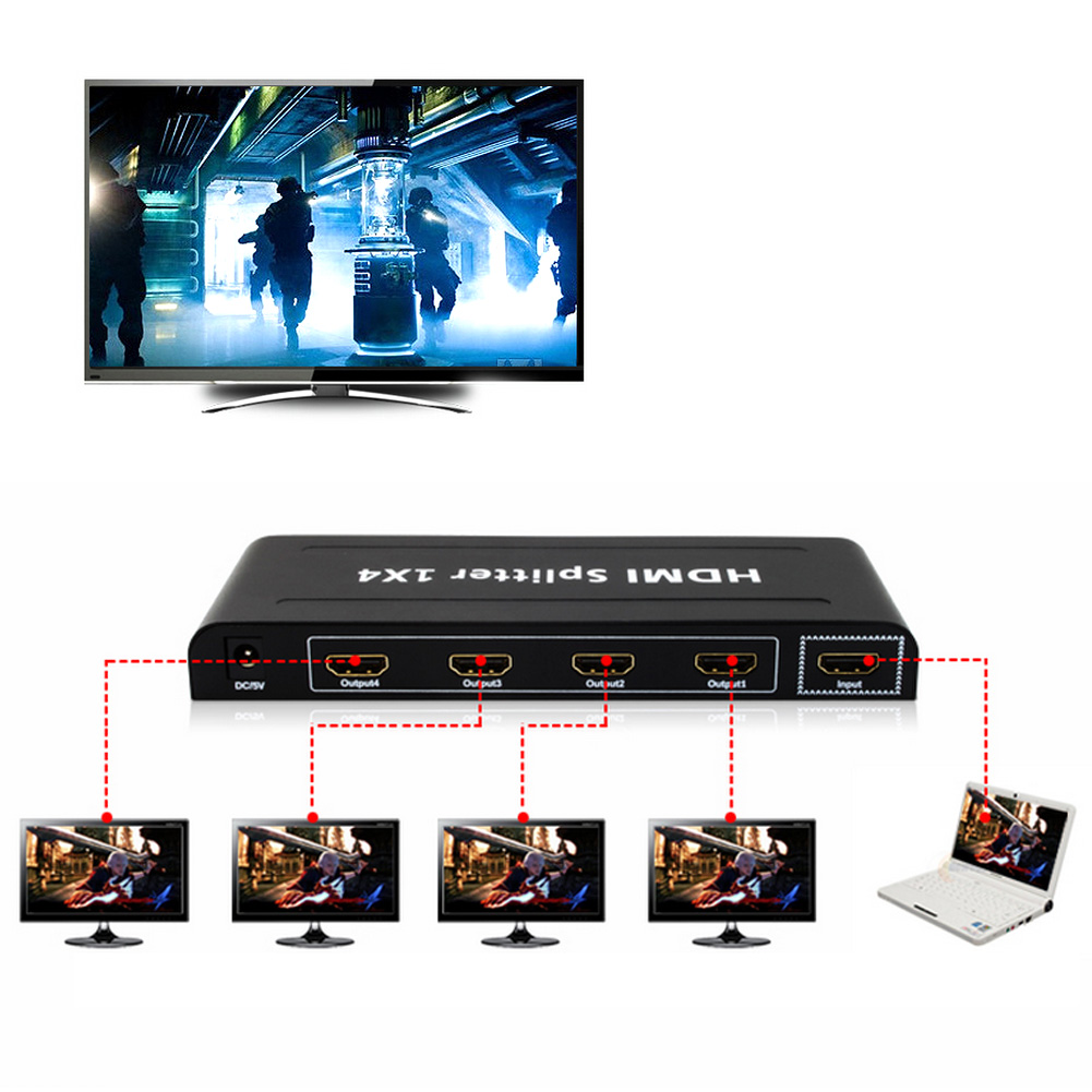 Full HD 6.75Gbps HDMI Splitter 1X4 4 Port Hub Repeater Amplifier v1.4 3D 1080p 1 in 4 out With Power Adapter For HDTV HDCP 4 port hdmi splitter 1 in 4 out audio video v1 3b 1080p 1x4 4k hdmi splitter amplifier for hd tv ps3 3d