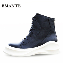 На шнуровке ботинки из натуральной кожи модный бренд мужской Повседневное Hightop обуви высокий обувь с высоким берцем на толстой платформе Harajuku сапоги мужские