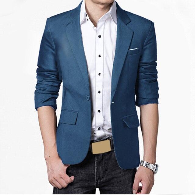 Мужчины Пиджаки Pluse Размер M-3XL Мода Slim Fit Стильный Формальные повседневная One Button Костюм С Длинным рукавом Куртки Пальто Оптовая DM #6
