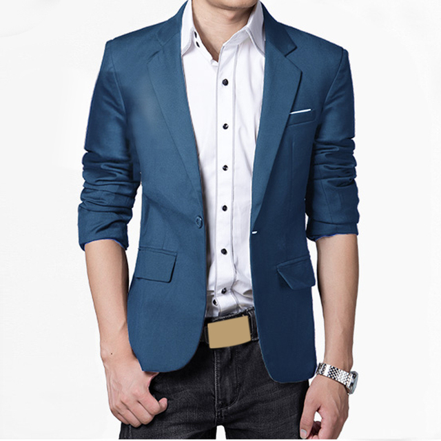 Men Blazers  Pluse Size M-3XL Fashion Slim Fit Stylish Formal Casual One Button Suit Long sleeve Men Jacket Coat Wholesale  DM#6