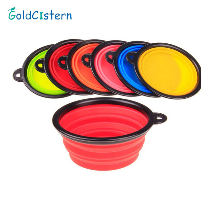 Collapsible foldable silicone dow bowl candy color outdoor travel portable puppy doogie food container feeder dish on sale