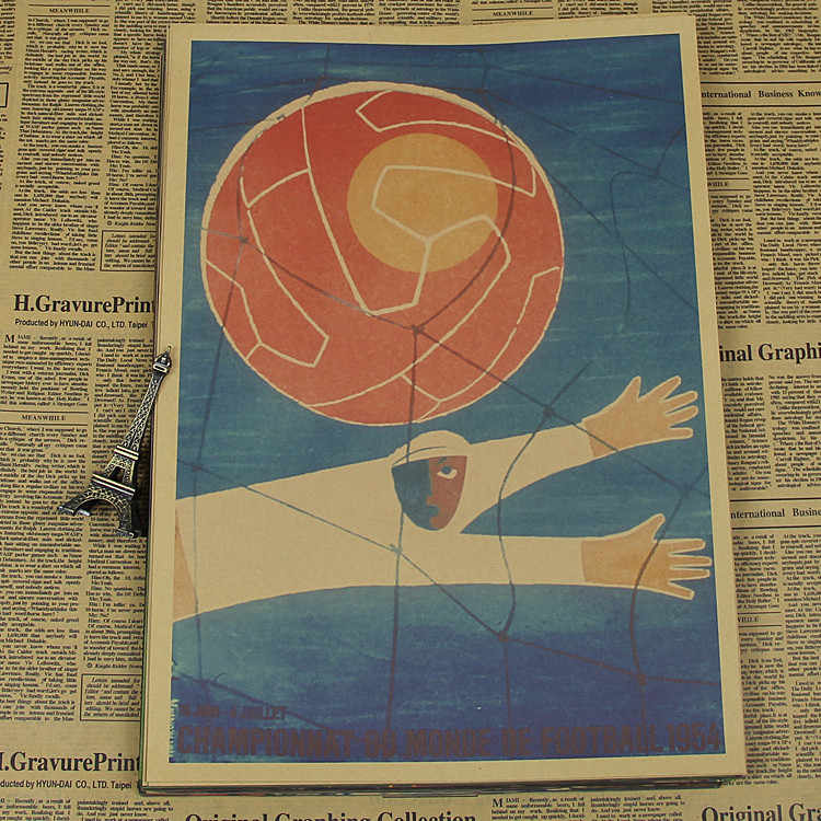 "Large Vintage ""1954 World Cup in Switzerland"" Football Poster Home Decoration Wall Sticker Wall Chart Retro Matte Kraft Paper"