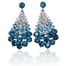 Free Shipping !2017 New Fashion Rhinestone Crystal Stud Earrings for Women Vintage Christmas Tree Earrings Jewelry sky Blue