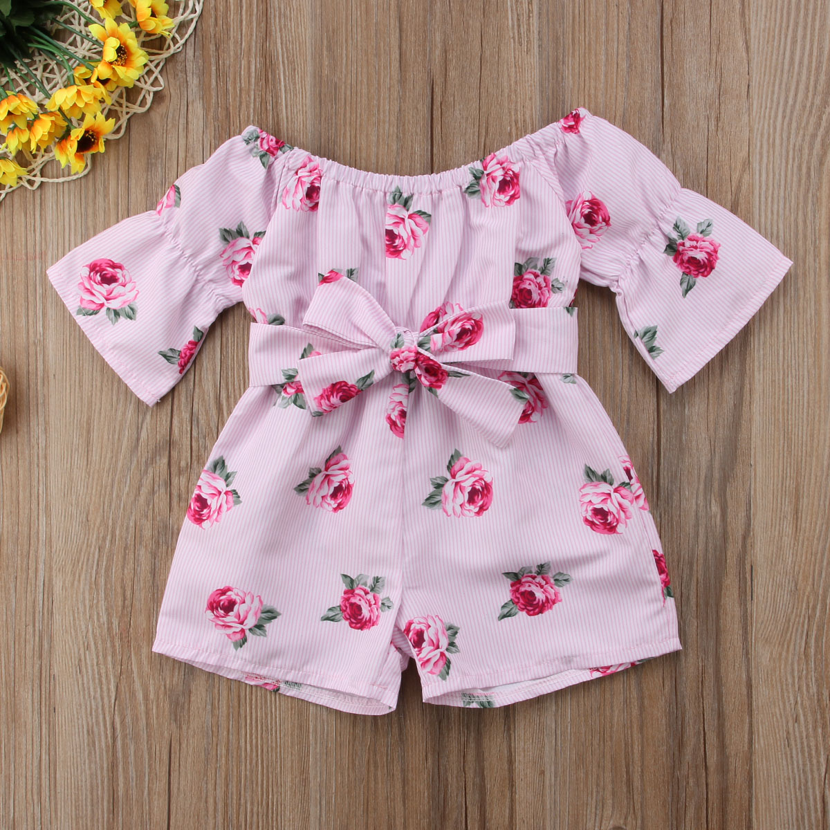 00f9890f4858 Pretty Pink Floral Off Shoulder Rompers Kids Baby Clothing Girl ...