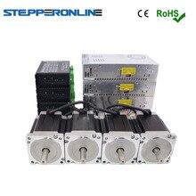 Большая распродажа 4 оси ЧПУ маршрутизатор комплект 8.5Nm(1204 oz. in) Nema 34 шаговый двигатель и драйвер 18-80VAC