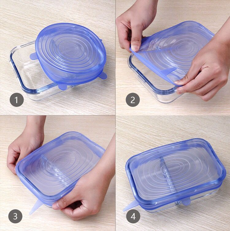 6pcs Reusable silicon stretch lids universal lid Silicone food wrap bowl pot lid silicone cover pan cooking Kitchen Stoppers
