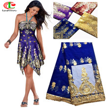 Embroidered George Lace Fabric With BLouse For India Wedding Dresses Royal  Blue 2018 New Fashion Gold 149d0d2e16a4