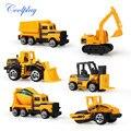 Coolplay 6 unids/set mini ingeniería de vehículos de construcción de aleación a troquel del coche camión de volteo modelo artificial toys para niños niño