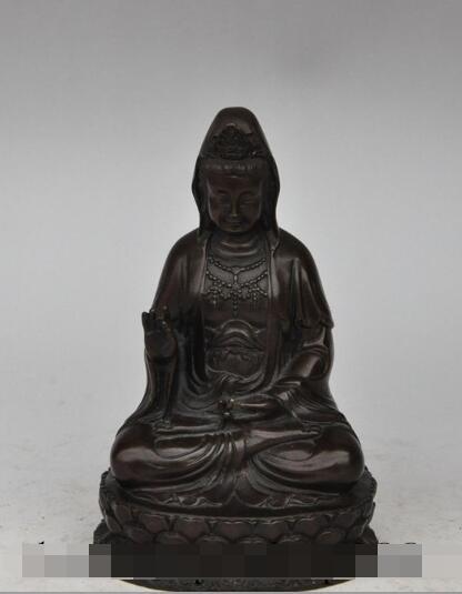 free shipping S2436 6 chinese buddhism fane bronze lotus kwan-yin guanyin Bodhisattva buddha statue tibet buddhism copper bronze green tara guan yin boddhisattva buddha god statue