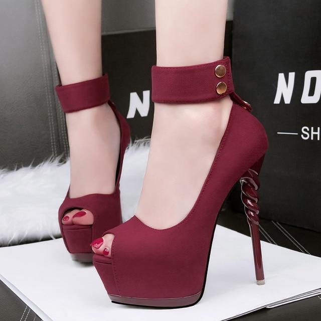 peep toe platform high heels women