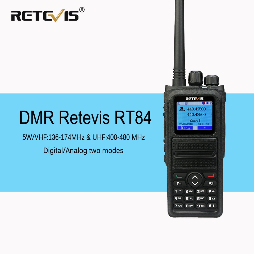 Retevis RT84 Dual Band DMR Radio Walkie Talkie VHF UHF Digital Analog Two Way Radio Transceiver