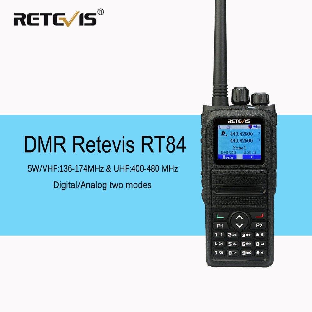 Retevis RT84 Double Bande Radio DMR Talkie Walkie VHF UHF Numérique/Analogique Deux Voies Émetteur-Récepteur Radio Amateur Radio Comunicador + câble