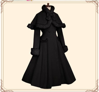 Exclusive Fashion Neo ludwig Classical Lolita Scallop Wave Thick Wool Coat&Fine Fur Bow Scarf Handmade