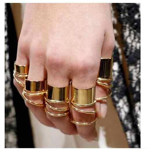 9pcs/set gold silver color Korean personality ring fashion brief joint rings for women wj218