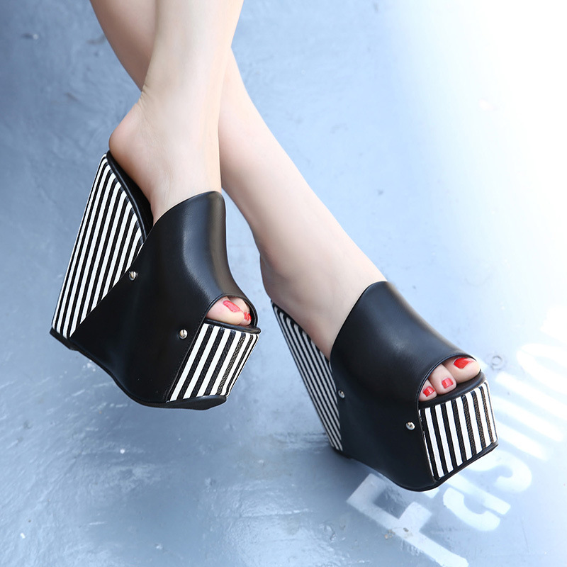 f484f1d8736 European Style Summer Shoes Slides High Heels Nightclub Sandals Pepp Toe Female  16CM Slippers Womens Striped Heels-in Slippers from Shoes on Aliexpress.com  ...