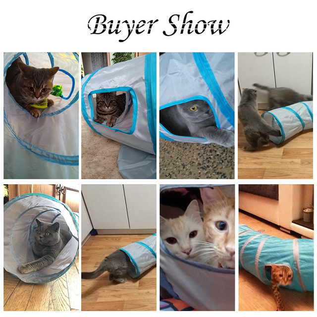 """Drop shipping """"S"""" Cat Toys Tunnel Long 1.2M Lovely Funny Design 2 Windows and 2 Holes Cat Tunnel Toys Kitten Puppy Pet Supplies 1"""