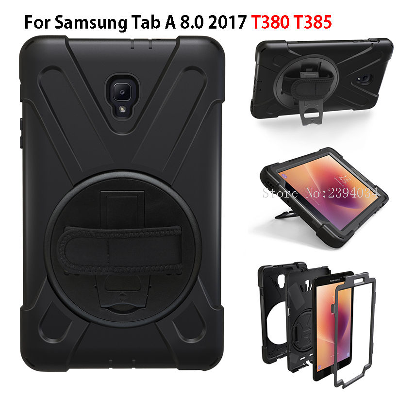 Tablet Case For Samsung Galaxy Tab A 8.0 T380 T385 2017 Cover Funda Kids Safe Shockproof Heavy Duty Silicone Hard Hand Holder