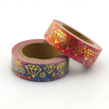 1pcs NEW 15mm*10M Gems Foil Washi Tape - High Quality Paper Adhesive Tape Golden Blue Diamond Sticky Paper Tape Masking Tape 2 4cm 50m washi tape excellent quality paper tape adhesive tape washi masking tape