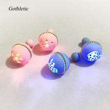 Gothletic LED Front Back Stud Earrings Rubber Paint Double Pearl Flash Light Up Earrings for Women Brincos DJ Party Jewelry
