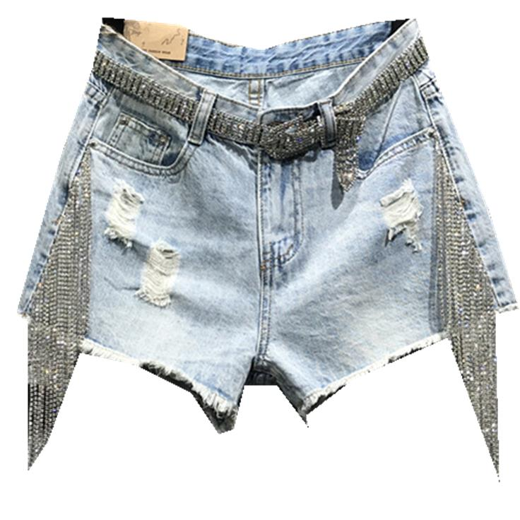 2019 Summer Fashion Denim Shorts Women High Waist Tassel Rhinestones Hole Straight Jeans Shorts