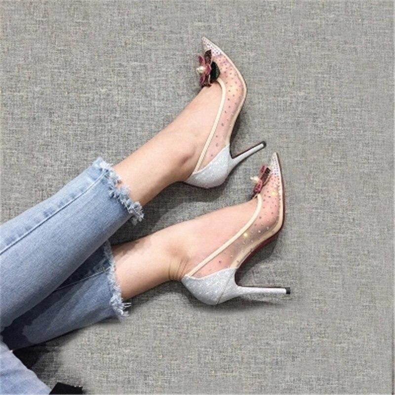 Fine Femmes Célibataires Dentelle Avec Chaussures Pointu Automne Et Européen Talons Gaze À Weddin De Hauts Nouveau Américain Printemps Diamant Sexy Les 6wvAFqTOA