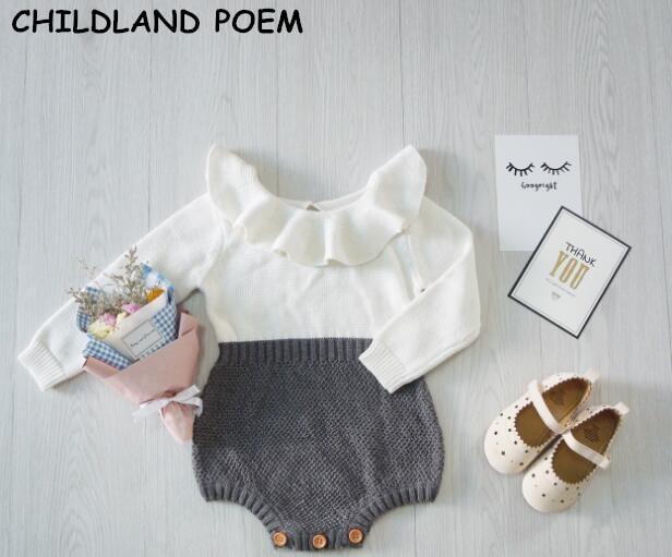 2017 våren höst baby flickor kläder nyfödda baby flicka kläder ruffles prinsessan flicka stickade overaller spädbarn baby romper