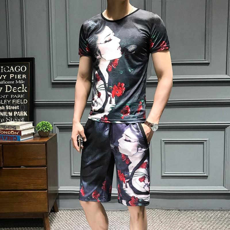 Loldeal Summer 3D Beauty Women's Print Set Ice Silk Short Sleeve T Shirt + Shorts Set Men's Print Butterfly Men's Set-in Men's Sets from Men's Clothing on Aliexpress.com   Alibaba Group 1
