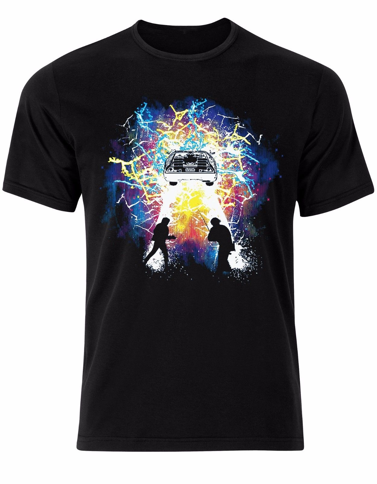 Fashion Summer Tops Colorful Back To The Future Design DeLorean Marty McFly Doc Mens Tshirt Top AL76