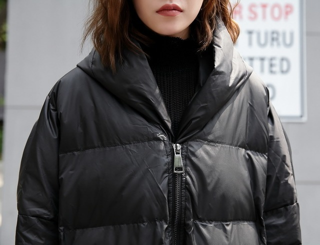 [EAM] 2020 nouveau hiver à capuche à manches longues couleur unie noir coton rembourré chaud ample grande taille veste femmes parkas mode JD12101 5