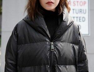 Image 5 - [EAM] 2020 חדש חורף ברדס ארוך שרוול מוצק צבע שחור כותנה מרופדת חם Loose גדול גודל מעיל נשים מעיילי אופנה JD12101