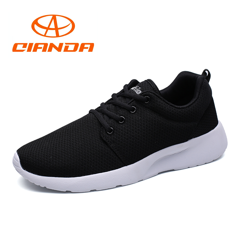 QIANDA Mens Comfortable Running Shoes Light Summer Breathable Mesh Man Sneakers Cushioning Outdoor Lace Up Jogging Sport Shoe