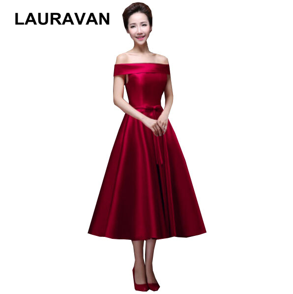 blue burgundy tea length   bridesmaid   wine colored   bridesmaids     dresses   girls birthday gowns wear wedding guest free shipping