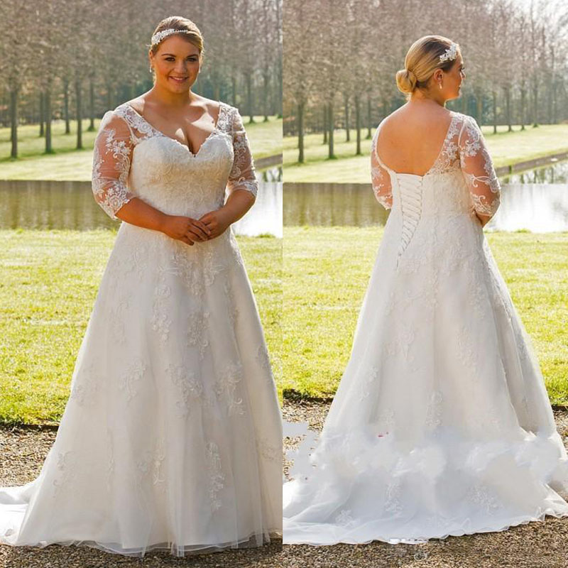 Buy 2017 plus size elegant a line wedding for Plus size a line wedding dresses