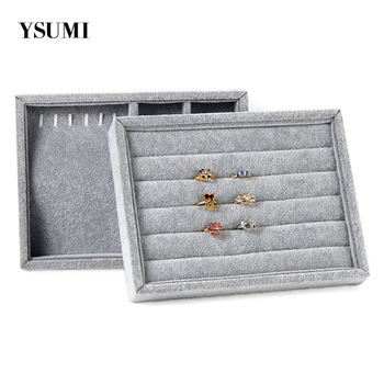 YSUMI Gray Jewelry Display Stand Trays Jewelry Box Storage Ring Earrings Necklaces Pendants Display Case Organizer Tray transparent double layer jewelry box display box jewelry storage box multifunctional nail storage display organizer ysumi