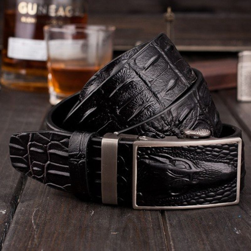 abf67a6ae 2018 new arrival fashion crocodile style automatic buckle belts men genuine  leather belt cowboys girdle casual waistband