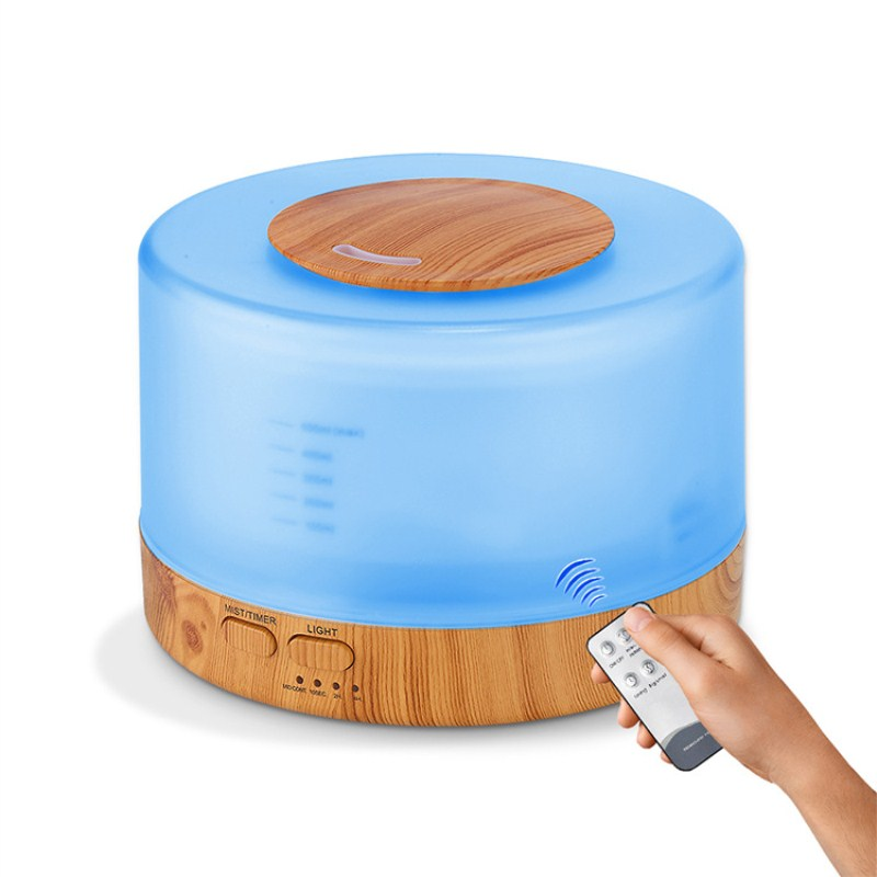Купить с кэшбэком 500ml Remote Control Ultrasonic Aroma Air Humidifier 7 Colors LED Light Electronic Aromatherapy Essential Oil Diffuser Household