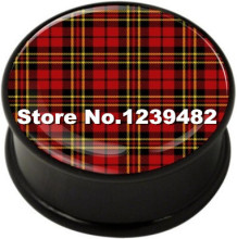 60pcs mix 10 sizes UV acrylic Tartan logo single flare ear plug gauges flesh tunnel body piercing jewelry SFP0239